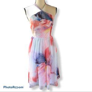 White House Blk Market  Watercolor Floral Dress
